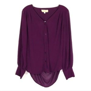 Anthropologie Lost April Purple Blouse Open Back S
